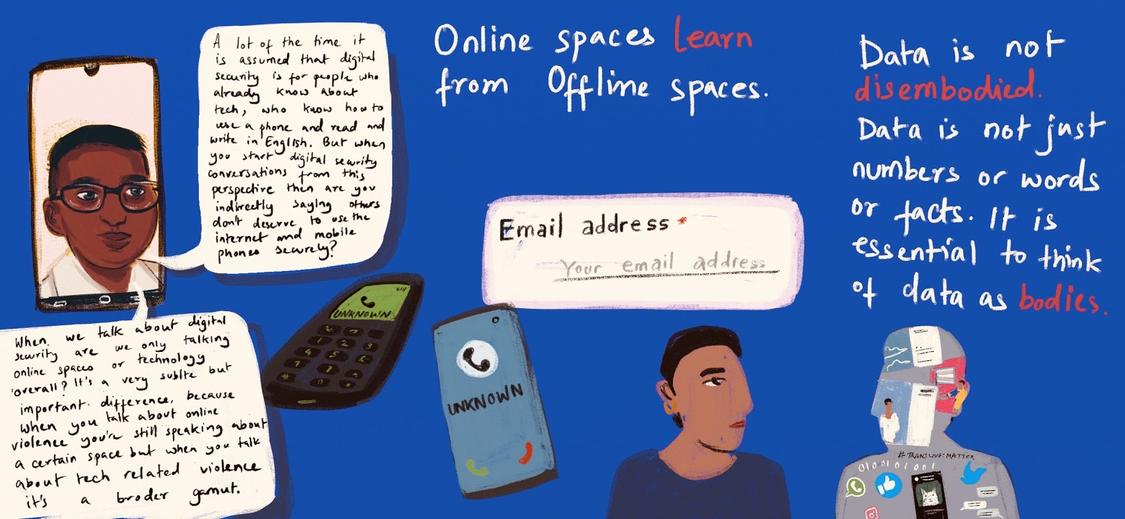 blue hand-drawn graphic with title Online spaces learn from offline spaces
